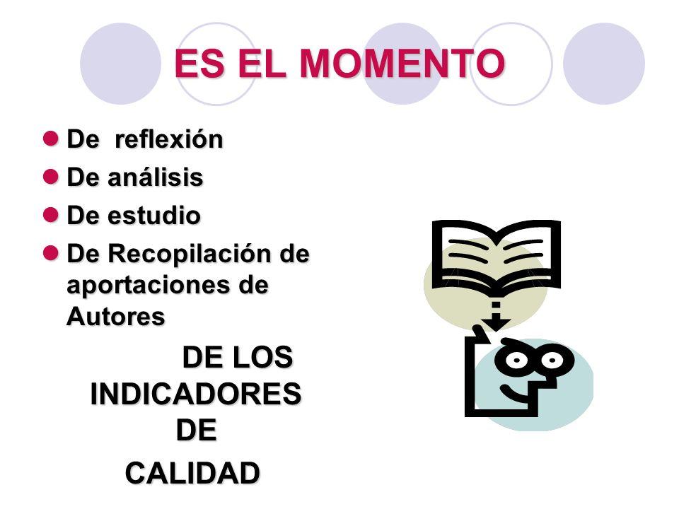ES EL MOMENTO DE LOS INDICADORES DE CALIDAD De reflexión De análisis