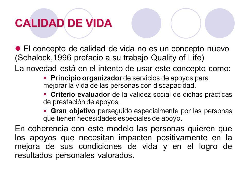 CALIDAD DE VIDA El concepto de calidad de vida no es un concepto nuevo (Schalock,1996 prefacio a su trabajo Quality of Life)