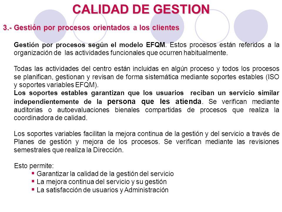 CALIDAD DE GESTION 3.- Gestión por procesos orientados a los clientes