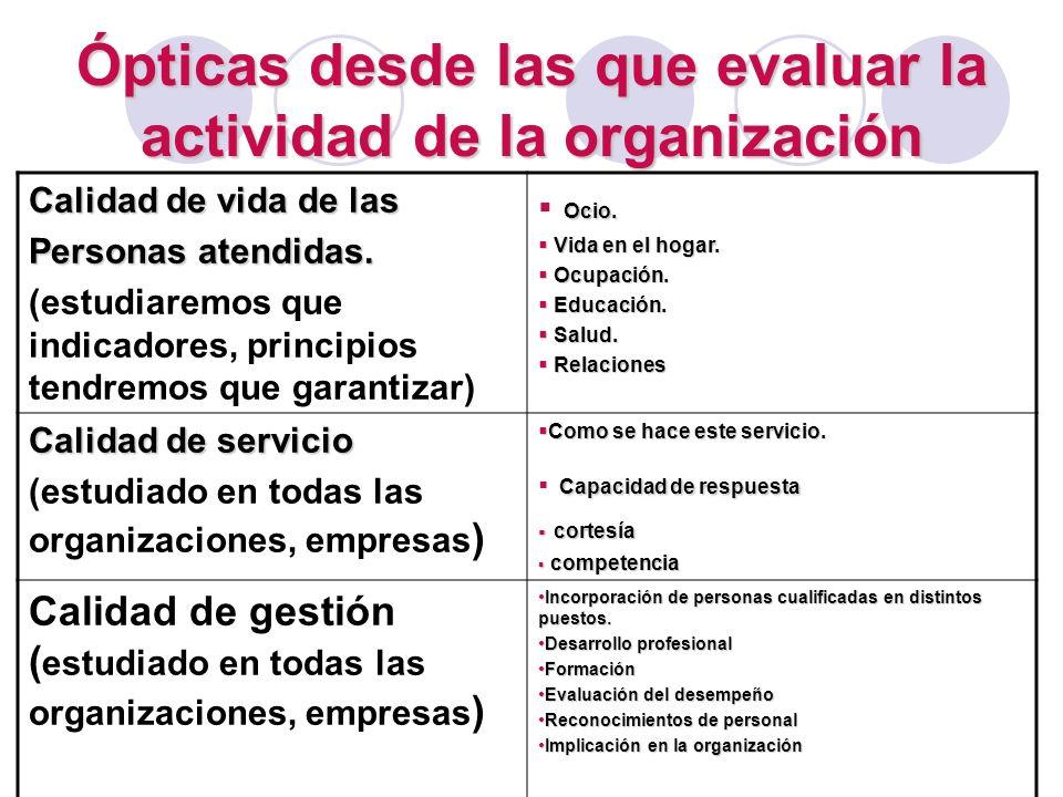 Ópticas desde las que evaluar la actividad de la organización