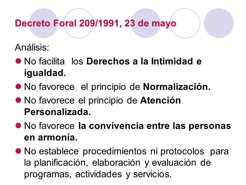 Decreto Foral 209/1991, 23 de mayo Análisis: No facilita los Derechos a la Intimidad e igualdad. No favorece el principio de Normalización.