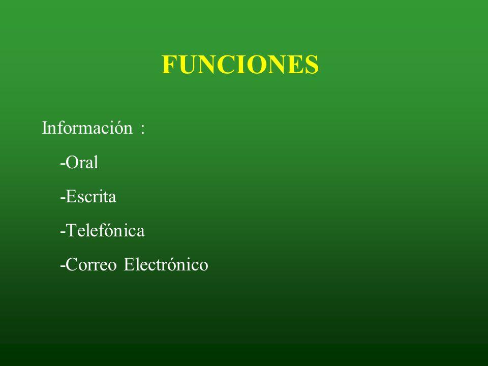 FUNCIONES Información : -Oral -Escrita -Telefónica -Correo Electrónico
