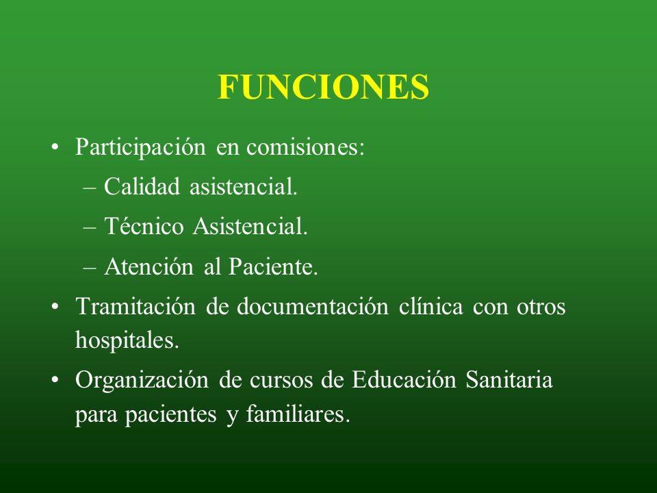 FUNCIONES Participación en comisiones: Calidad asistencial.