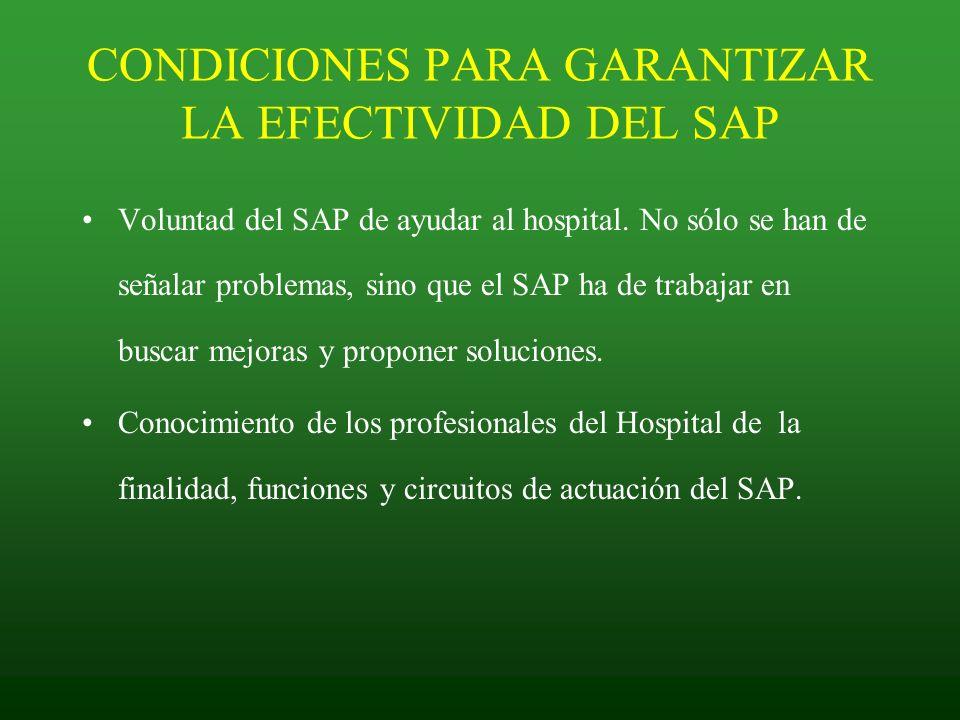 CONDICIONES PARA GARANTIZAR LA EFECTIVIDAD DEL SAP
