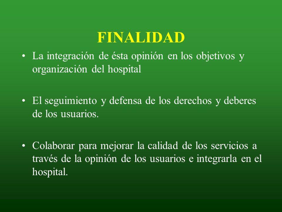 FINALIDAD La integración de ésta opinión en los objetivos y organización del hospital.