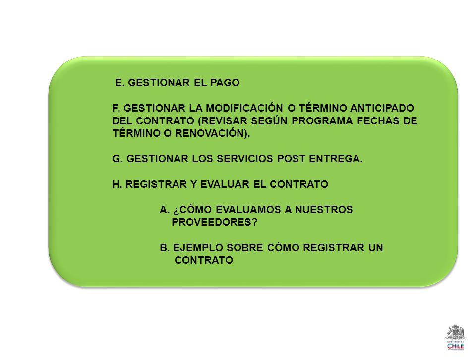 E. GESTIONAR EL PAGO F. GESTIONAR LA MODIFICACIÓN O TÉRMINO ANTICIPADO DEL CONTRATO (REVISAR SEGÚN PROGRAMA FECHAS DE TÉRMINO O RENOVACIÓN).