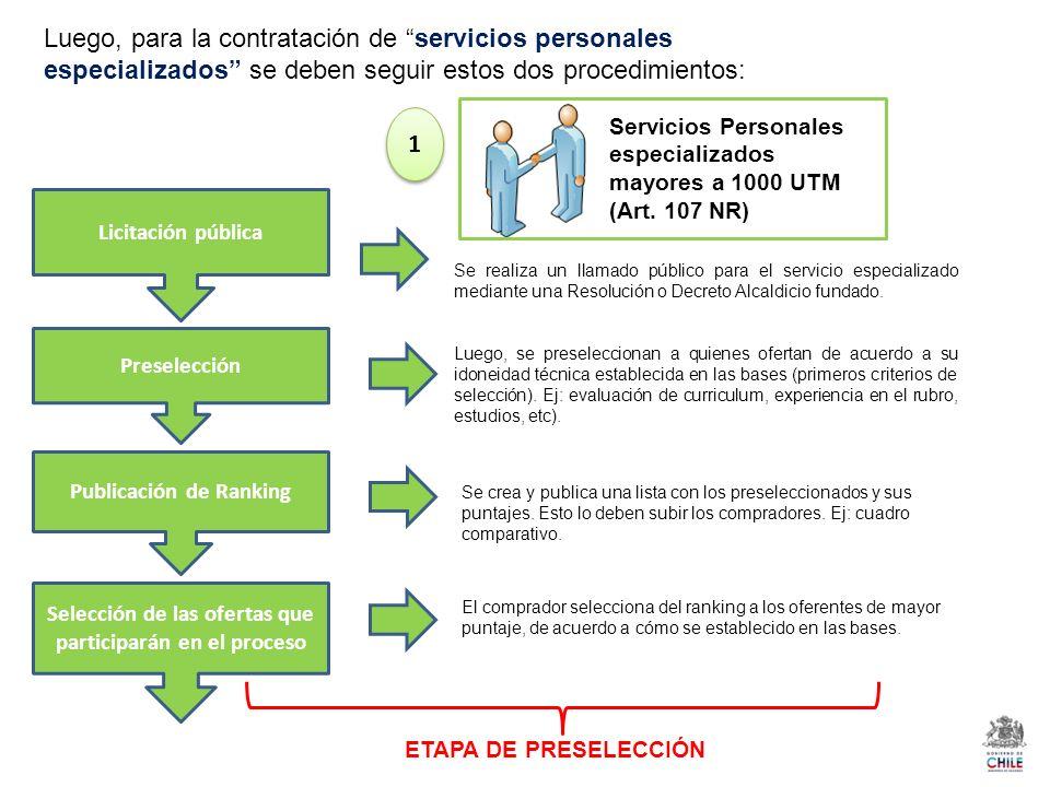 Luego, para la contratación de servicios personales especializados se deben seguir estos dos procedimientos: