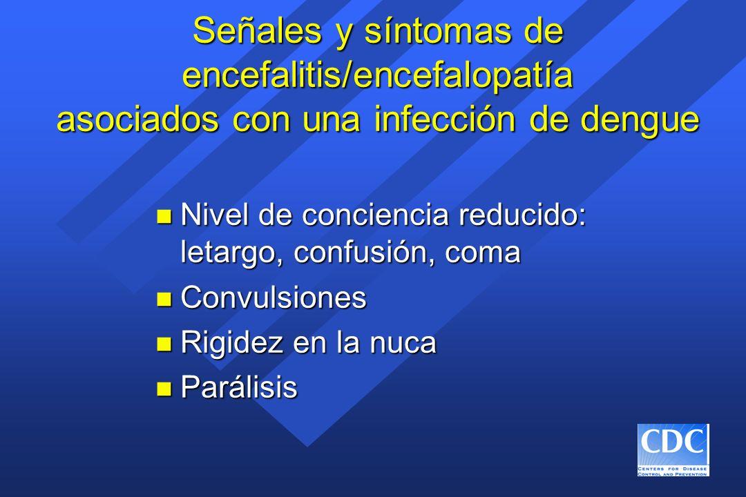 Señales y síntomas de encefalitis/encefalopatía asociados con una infección de dengue
