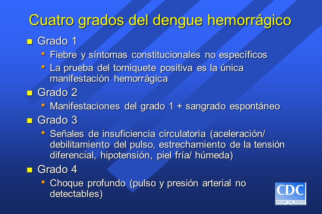 Cuatro grados del dengue hemorrágico