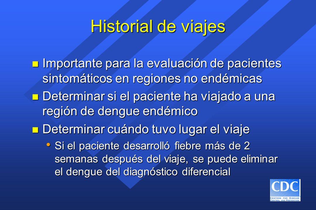 Historial de viajes Importante para la evaluación de pacientes sintomáticos en regiones no endémicas.