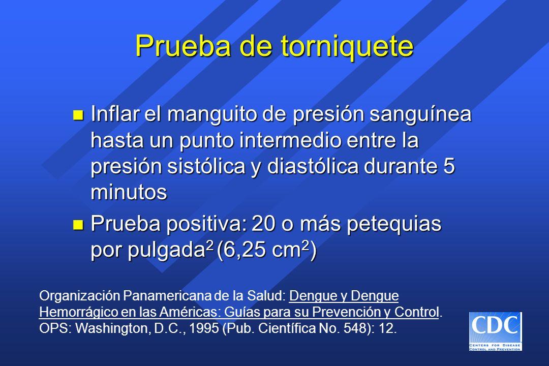 Prueba de torniquete Inflar el manguito de presión sanguínea hasta un punto intermedio entre la presión sistólica y diastólica durante 5 minutos.