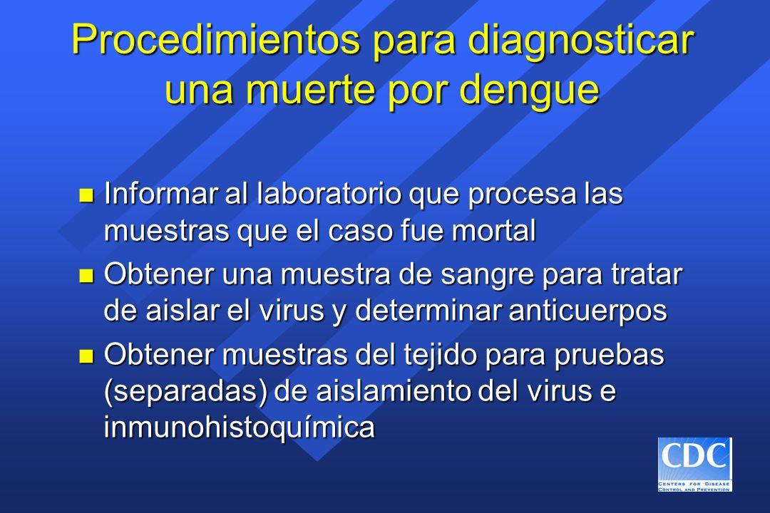 Procedimientos para diagnosticar una muerte por dengue