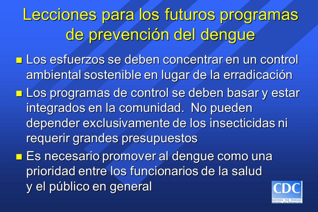 Lecciones para los futuros programas de prevención del dengue