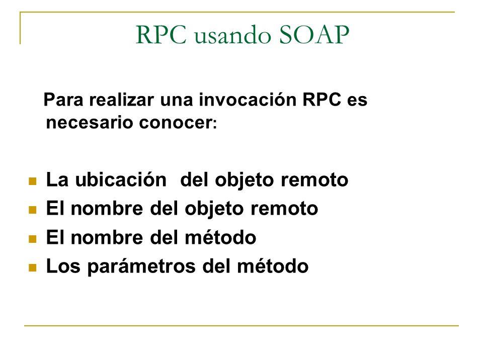 RPC usando SOAP La ubicación del objeto remoto
