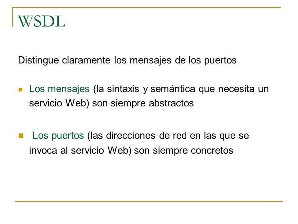 WSDL Distingue claramente los mensajes de los puertos. Los mensajes (la sintaxis y semántica que necesita un servicio Web) son siempre abstractos.