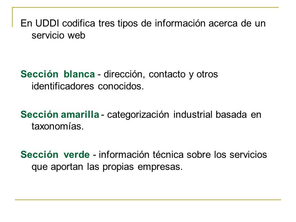 En UDDI codifica tres tipos de información acerca de un servicio web