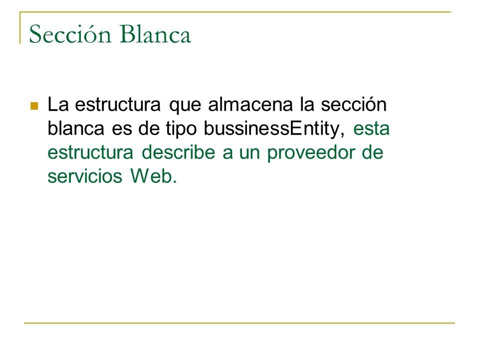 Sección Blanca La estructura que almacena la sección blanca es de tipo bussinessEntity, esta estructura describe a un proveedor de servicios Web.
