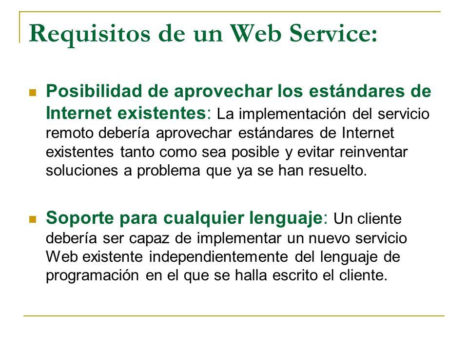 Requisitos de un Web Service: