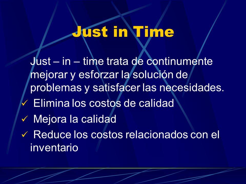 Just in Time Just – in – time trata de continumente mejorar y esforzar la solución de problemas y satisfacer las necesidades.