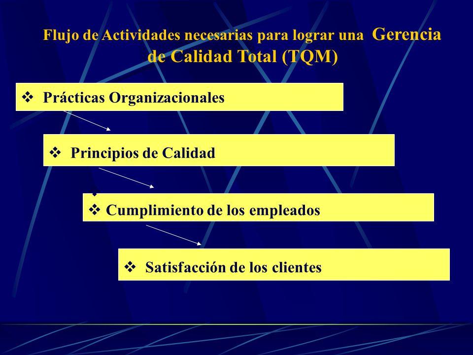 Flujo de Actividades necesarias para lograr una Gerencia de Calidad Total (TQM)