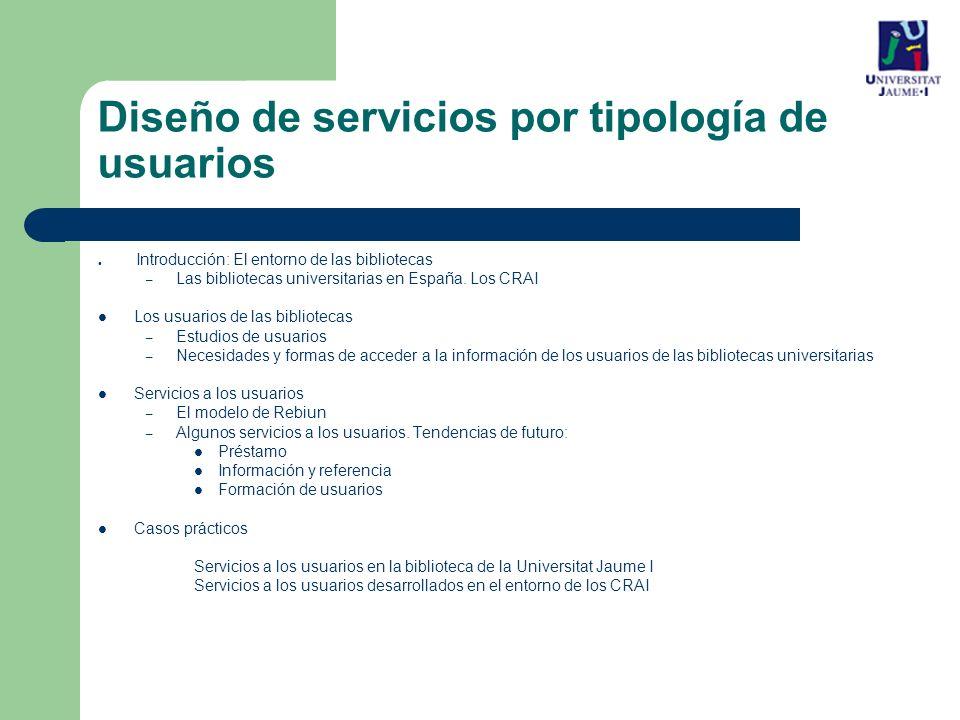 Diseño de servicios por tipología de usuarios