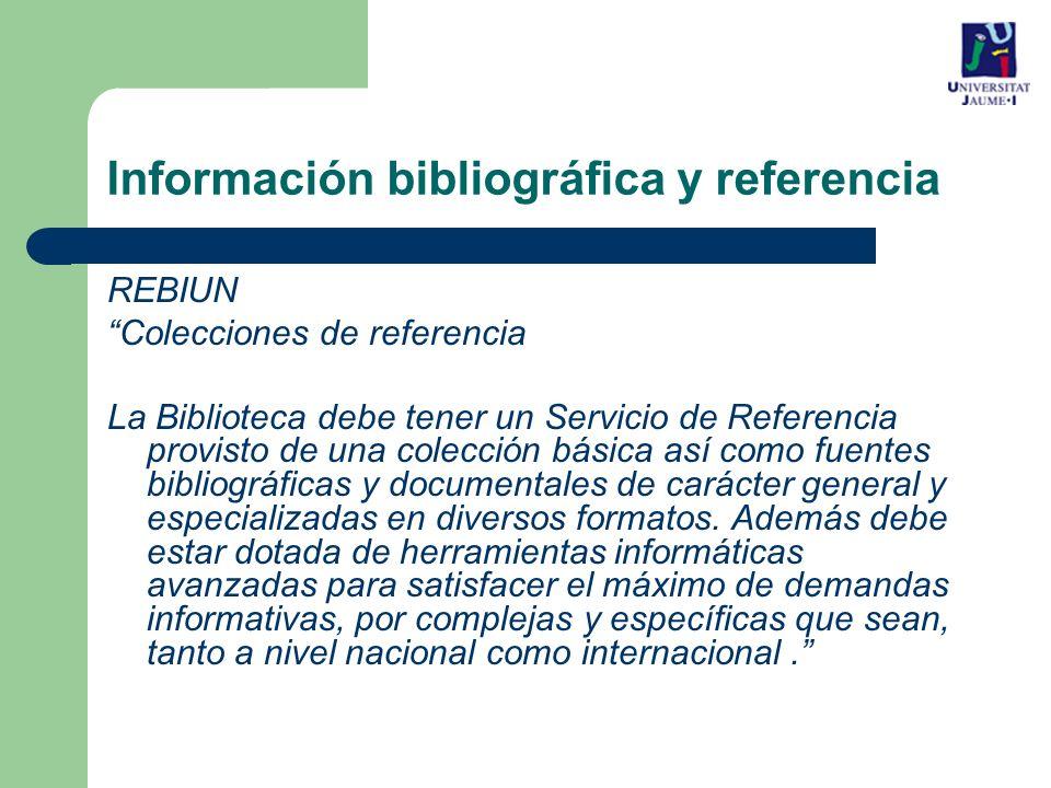 Información bibliográfica y referencia