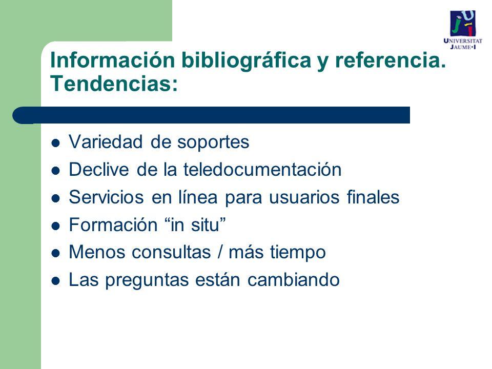 Información bibliográfica y referencia. Tendencias: