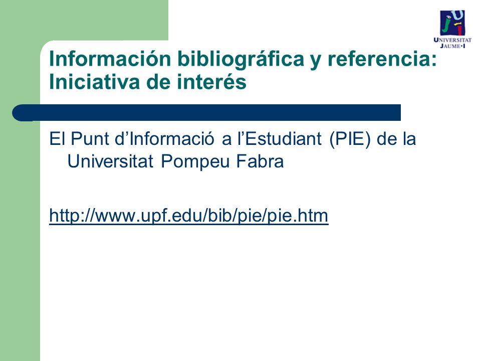 Información bibliográfica y referencia: Iniciativa de interés