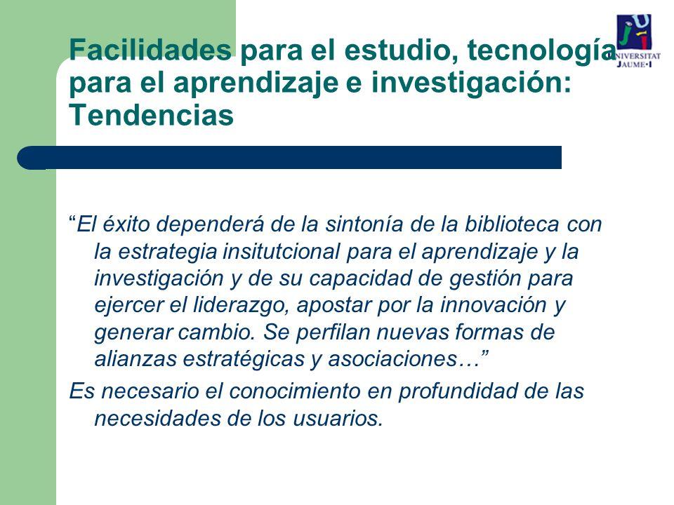 Facilidades para el estudio, tecnología para el aprendizaje e investigación: Tendencias
