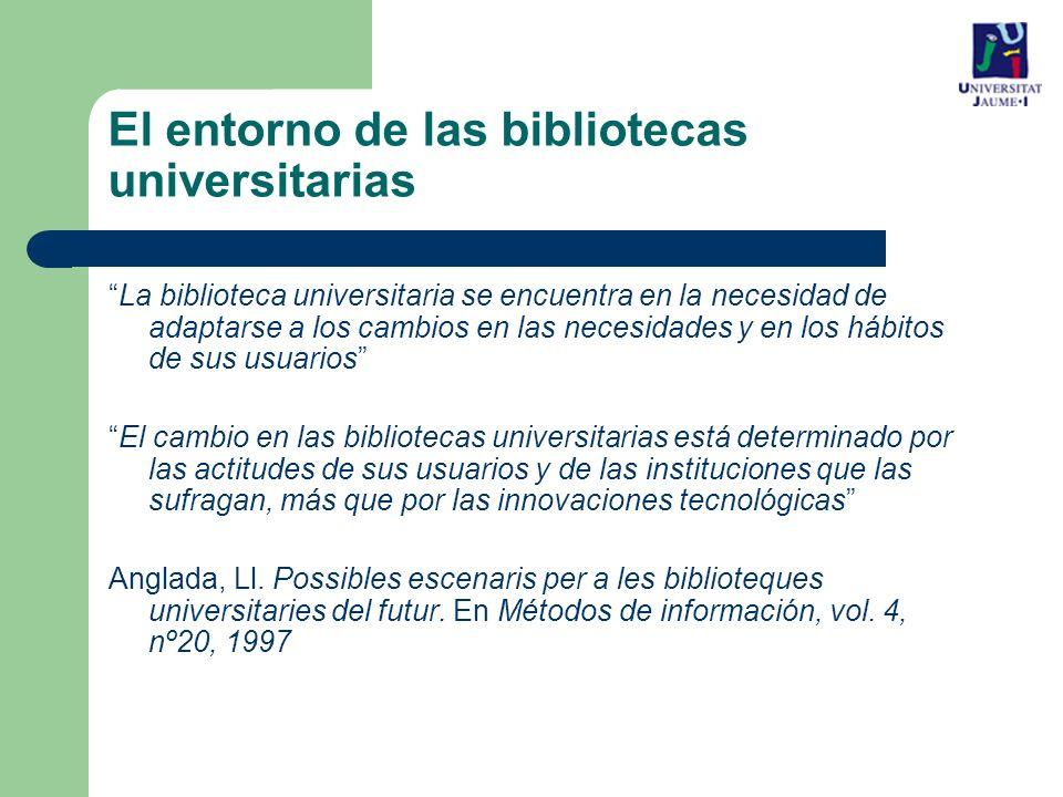 El entorno de las bibliotecas universitarias