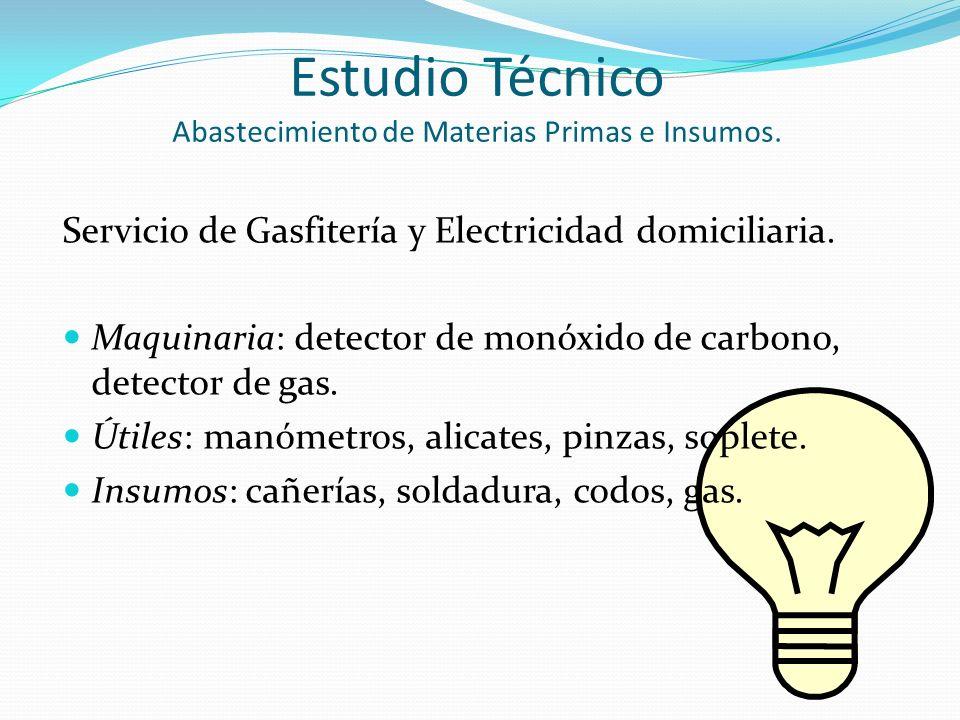 Estudio Técnico Abastecimiento de Materias Primas e Insumos.