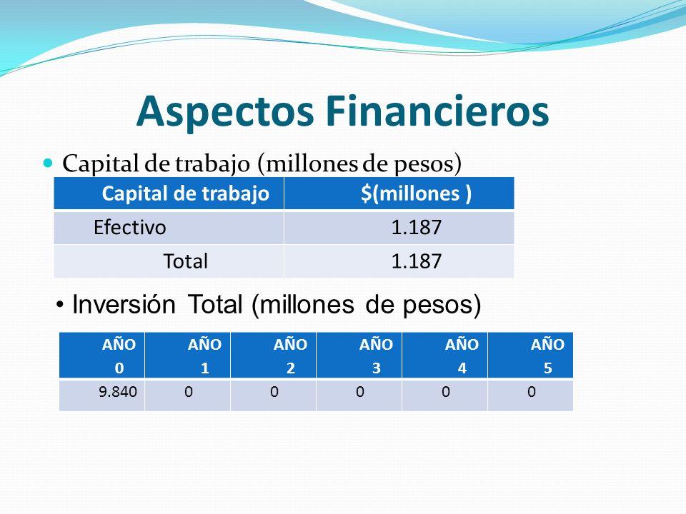 Aspectos Financieros Inversión Total (millones de pesos)
