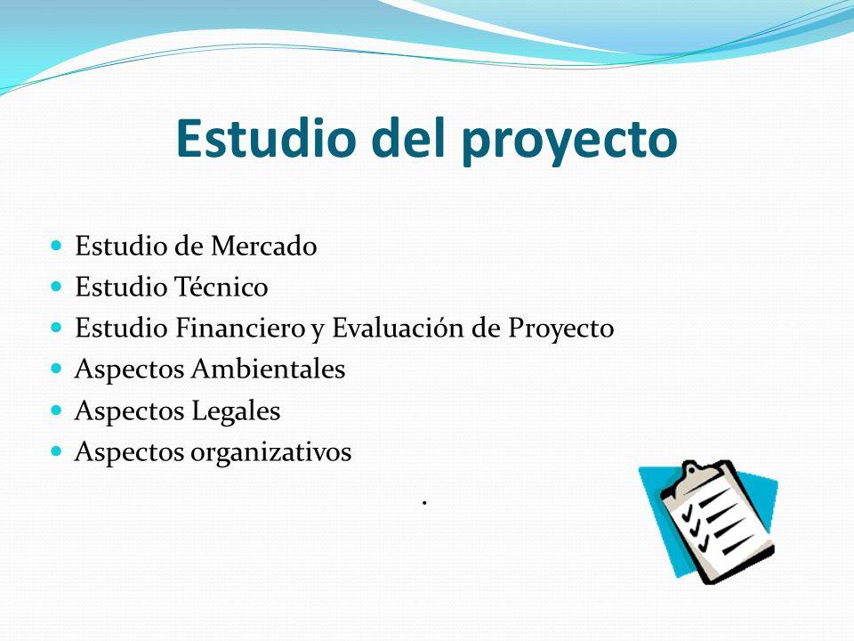 Estudio del proyecto . Estudio de Mercado Estudio Técnico