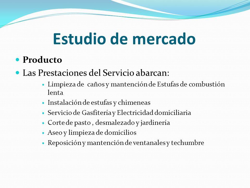 Estudio de mercado Producto Las Prestaciones del Servicio abarcan: