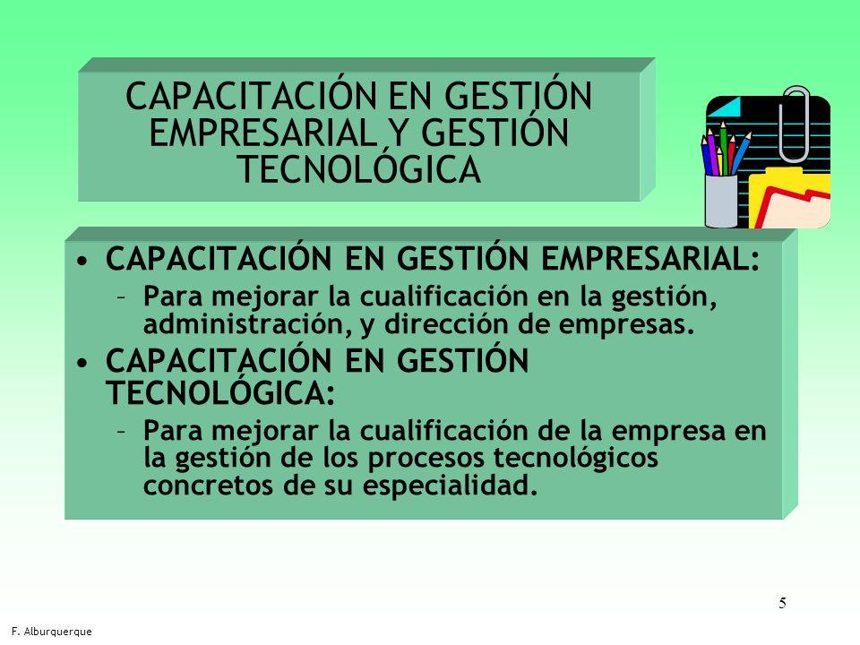 CAPACITACIÓN EN GESTIÓN EMPRESARIAL Y GESTIÓN TECNOLÓGICA