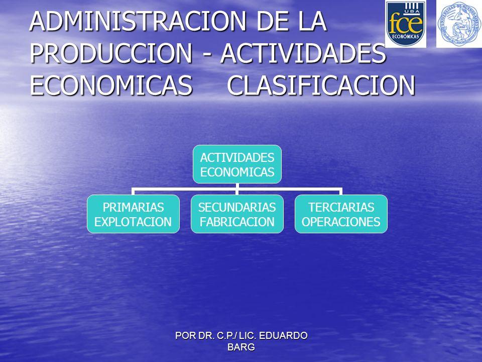 ADMINISTRACION DE LA PRODUCCION - ACTIVIDADES ECONOMICAS CLASIFICACION