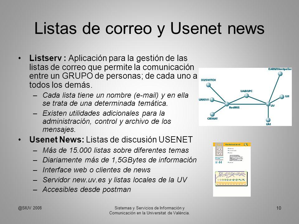 Listas de correo y Usenet news