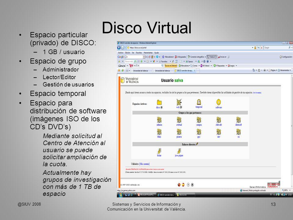 Disco Virtual Espacio particular (privado) de DISCO: Espacio de grupo