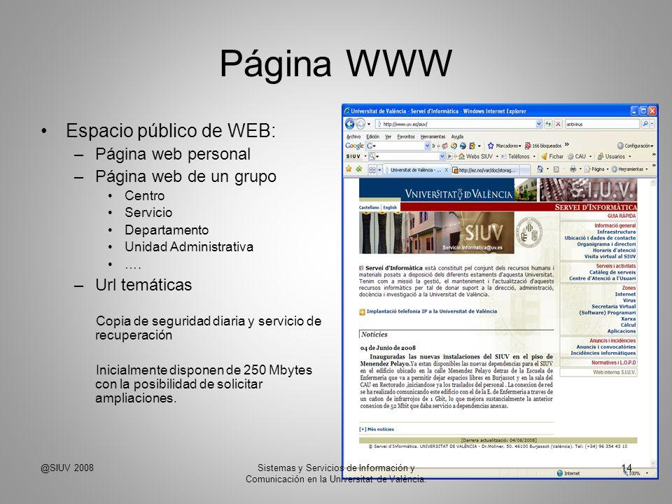 Página WWW Espacio público de WEB: Página web personal