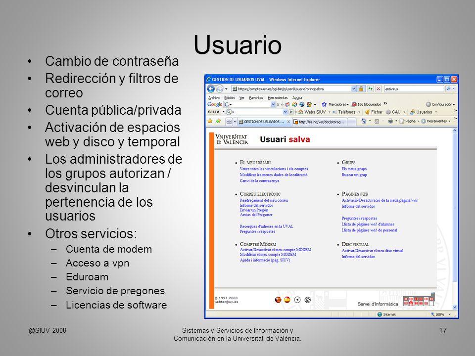 Usuario Cambio de contraseña Redirección y filtros de correo