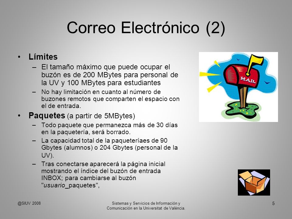 Correo Electrónico (2) Límites Paquetes (a partir de 5MBytes)