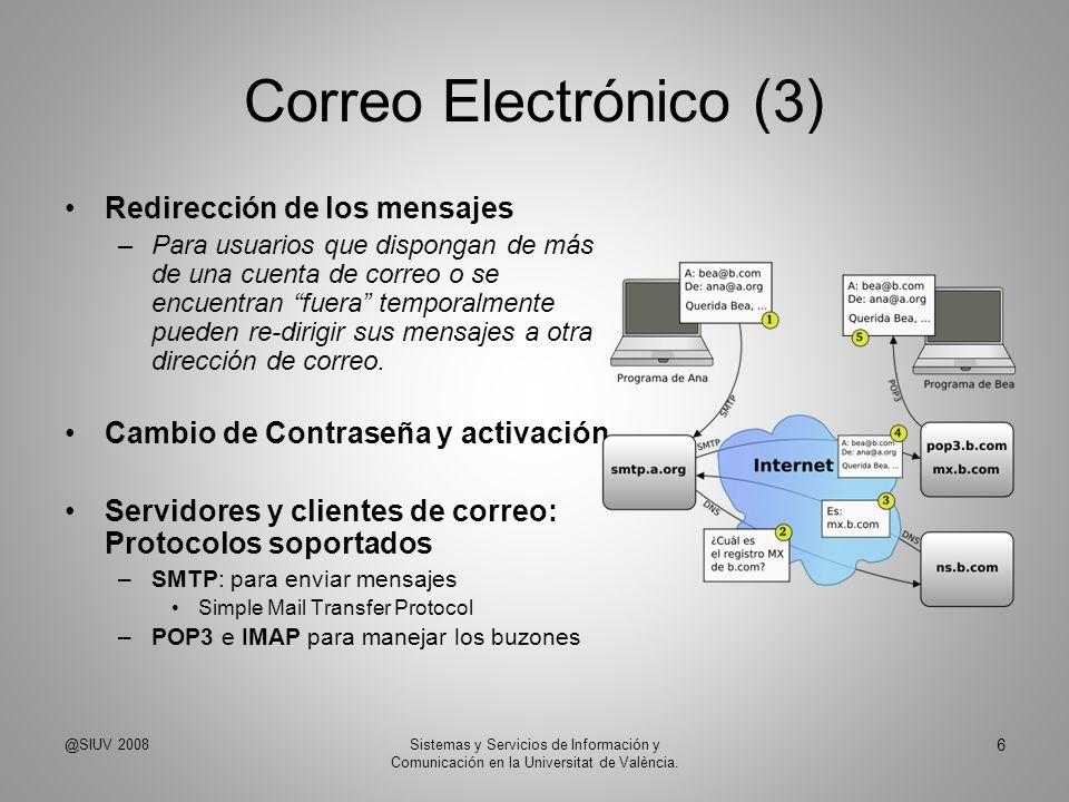 Correo Electrónico (3) Redirección de los mensajes