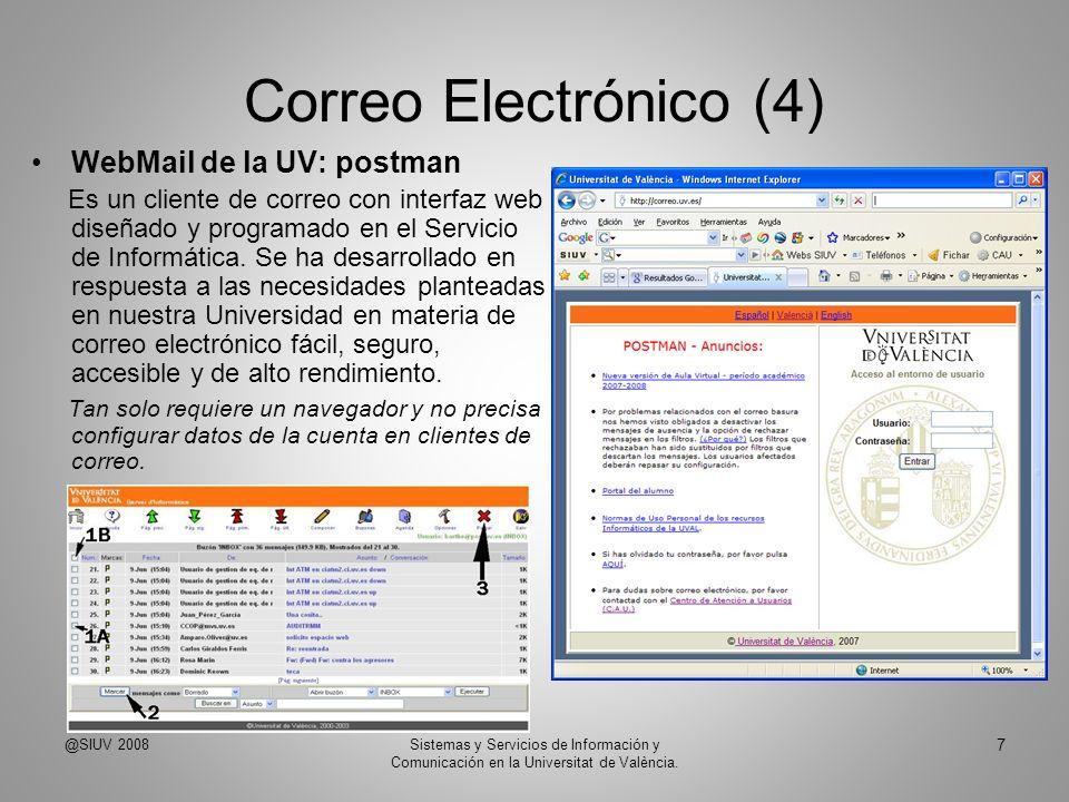 Correo Electrónico (4) WebMail de la UV: postman