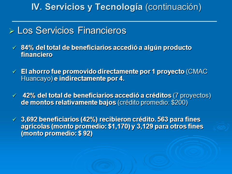 IV. Servicios y Tecnología (continuación)