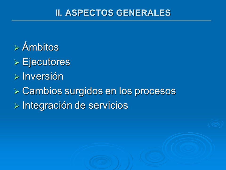 Cambios surgidos en los procesos Integración de servicios
