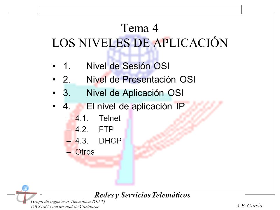 Tema 4 LOS NIVELES DE APLICACIÓN
