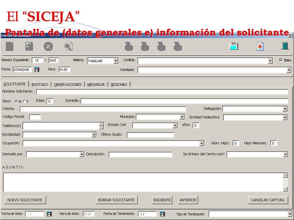 Pantalla de (datos generales e) información del solicitante