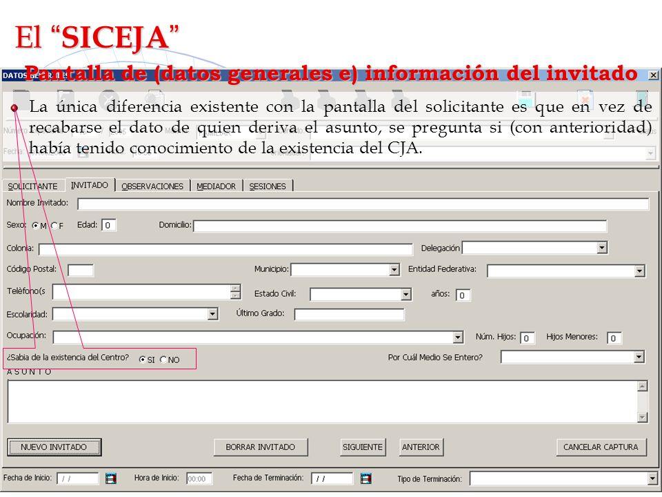 Pantalla de (datos generales e) información del invitado
