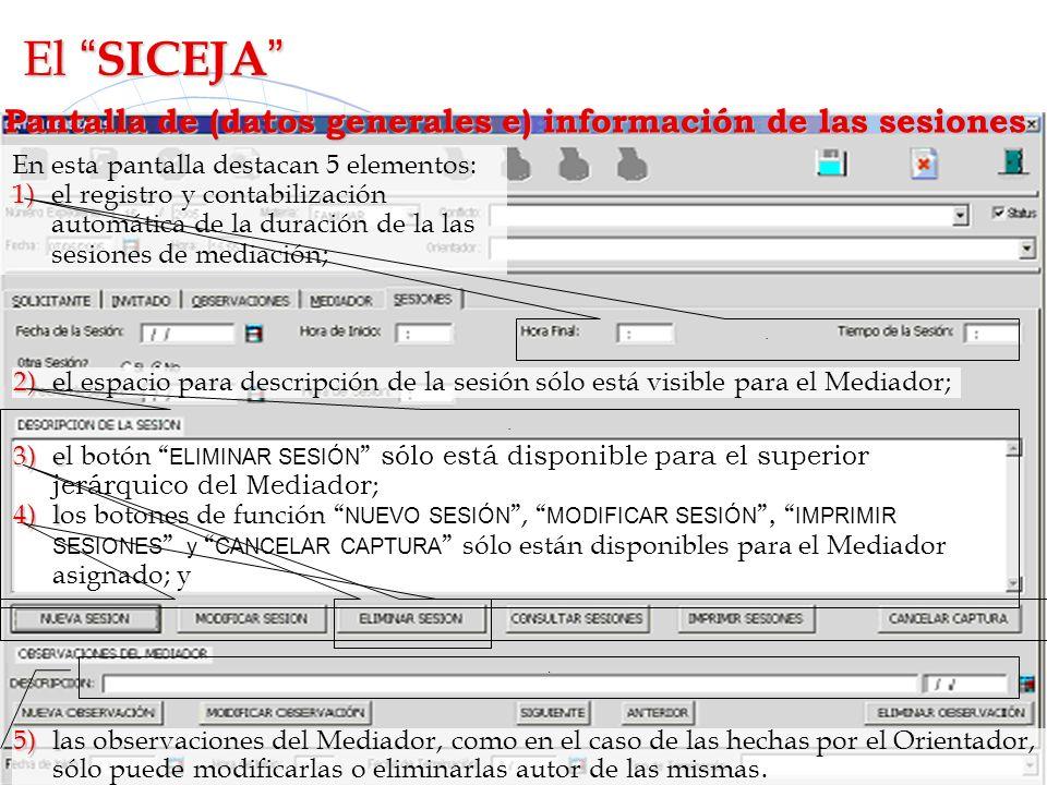 El SICEJA Pantalla de (datos generales e) información de las sesiones. En esta pantalla destacan 5 elementos: