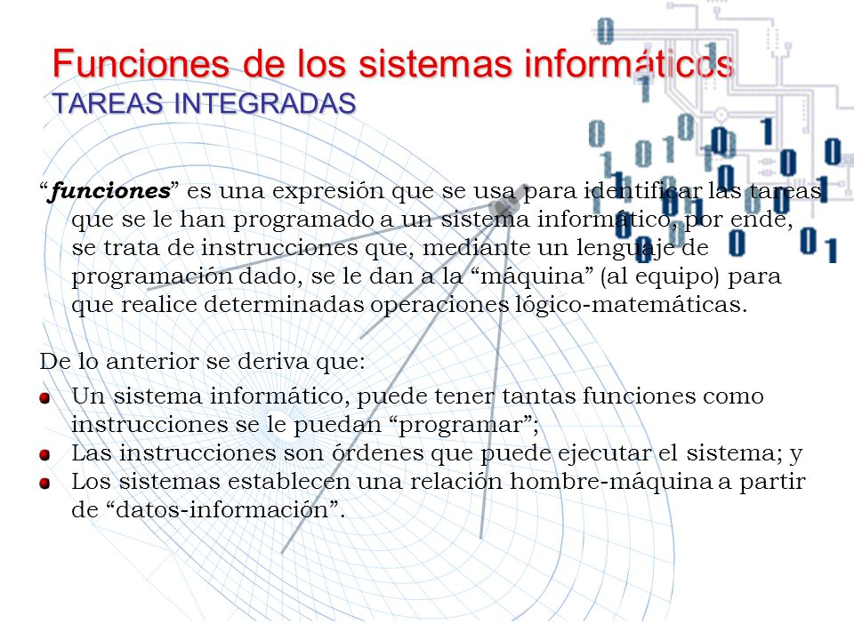 Funciones de los sistemas informáticos TAREAS INTEGRADAS
